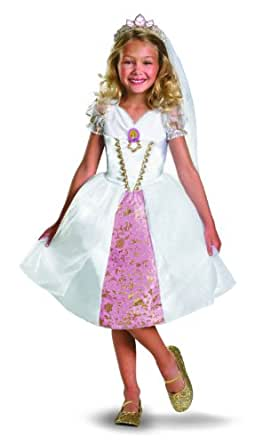 Disney Tangled Rapunzel Wedding Gown Costume, Gold/White/Pink, X-Small
