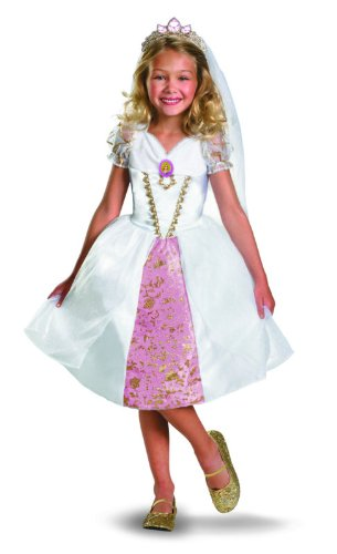 Fancy Dress Costume Ideas Cartoon Characters (Disney Tangled Rapunzel Wedding Gown Costume, Gold/White/Pink, Medium)