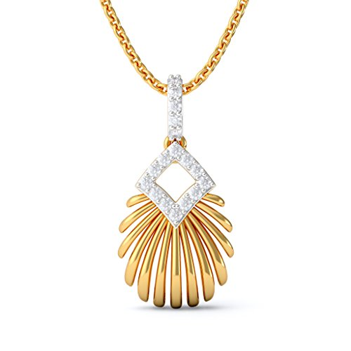 14 K jaune Or 0,19 CT TW Round-cut-diamond (IJ | SI) Pendentif