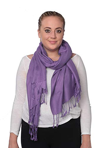 (C-More Elegant Pashmina Silk Blend Soft Wrap Scarf Shawl For Women -30+ Solid Colors (Lavander))