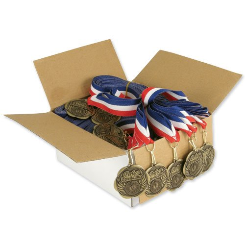 Set of 100 Award Medals with Neck Ribbons - Perfect Attendance