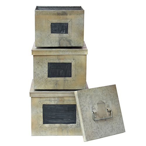 Stonebriar Aged Galvanized Metal Boxes with Chalkboard Labels (Set of (Galvanized Box)