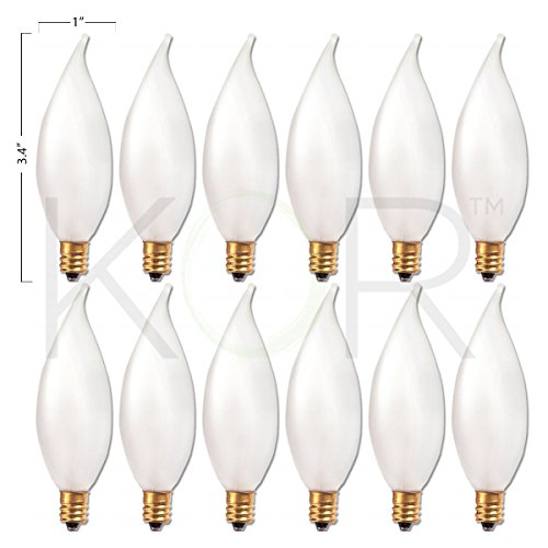 12 Pack - 25 Watt Frosted Flame Shaped Incandescent Light Bulb, Candelabra Base