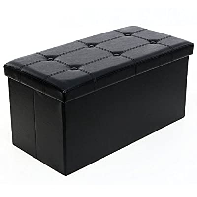 SONGMICS Faux Leather Folding Storage Ottoman Bench Foot Rest
