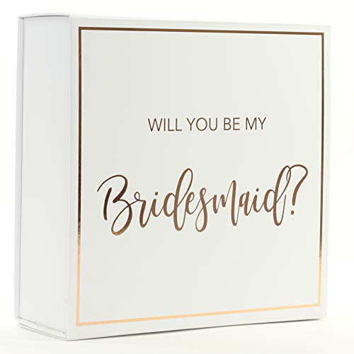 Andaz Press Bridesmaid Proposal Box, Real Rose Gold Foil, Set of 5 Pack DIY Bridal Party Gift Box, Empty Cardboard Gift Box Fits Mini Wine Bottle, Gift Ideas for Bride Tribe