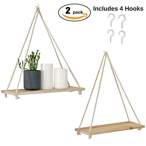 ood Shelves [Set of 2] Distressed Wooden Wall Shelf with Floating Triangle Swing Rope, Display Stand Organizer, Rustic Farmhouse Home Decor (Natural Birch Pine) ()