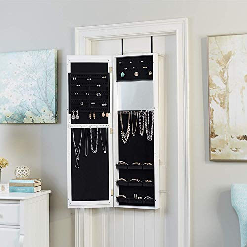 - Nova Natural Over The Door Wall Hanging Mirrored Jewelry Armoire, Large Jewelry Cabinet with Drawers, Stand Up Jewelry Box, Jewelry Standing Chest Organizer for Necklaces, Rings, Bracelets (White)
