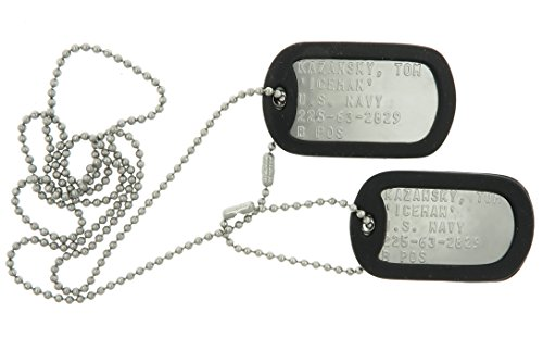 Top Gun ICEMAN Military Replica Stainless Steel Dog Tag Set Prop -