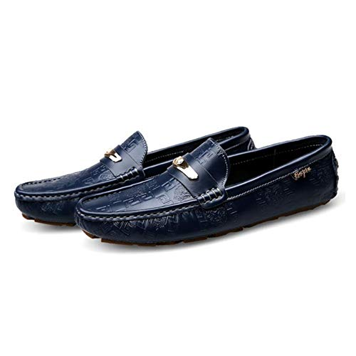 Zapatos Caminar conducción Comfort Moda de Zapatos Mocasines Zapatos Perezosos Otoño Ons de Negro Slip Ocasionales Blanco Azul Zapatos para y para Verano Cuero Azul Hombres de aOxf6p
