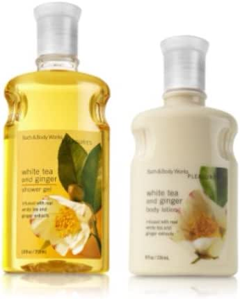 Bath & Body Works Pleasures Collection Shower Gel and Body Lotion Gift Set (WHITE TEA AND GINGER)