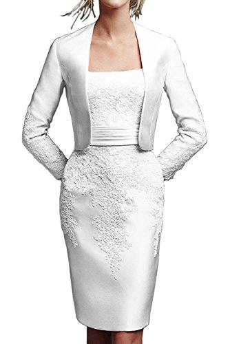 Jugendweihe mit Kleider Spitze Knielang La Ballkleider Weiß Marie Brautmutterkleider Kurz Jaket Abendkleider Braut ZAw0wqv