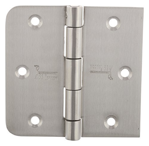 32d Brushed Stainless Steel - 3 Stainless Steel BARN Door Hinge 3.5 INCH Security PIN Lock Hinge Brushed Satin 353525SR-SP-32D 5/8 Radius/Square Heavy Duty Interior Hinge Exterior Hinge SSiSKCON Brand