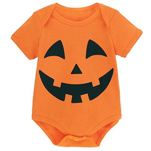 Mombebe Baby Halloween Pumpkin Bodysuit (12-18 Months, Pumpkin)