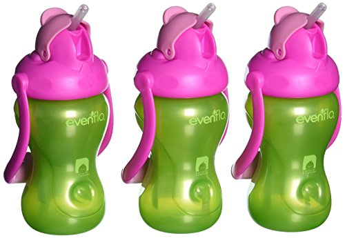 Evenflo Feeding Advanced Swing 3pack  Handled Straw Cups, Green/Pink