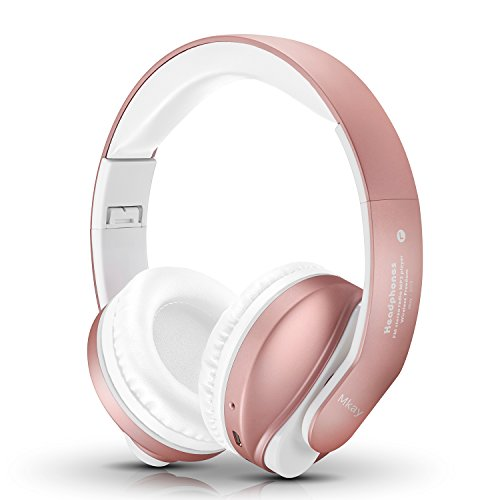 Tv Function Dual Card - Bluetooth Headphones Over Ear, Mkay Stereo Wireless Headset with Microphone, TF Card and FM Radio for Cellphones Laptop TV (Rose Gold)