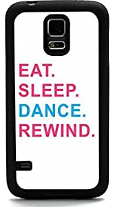Rikki KnightTM Eat Sleep Dance Rewind Pink & Blue Design Samsung? Galaxy S5 Case Cover (Black Rubber with front Bumper Protection) for Samsung Galaxy S5 i9600 by mcsharks