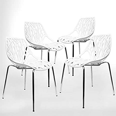 Amazon Com Modern Dining Chairs Set Of 4 By Urbanmod White Chairs Kid Friendly Birch Chairs Stackable Modern Chair Mid Century Dining Chair Chairs