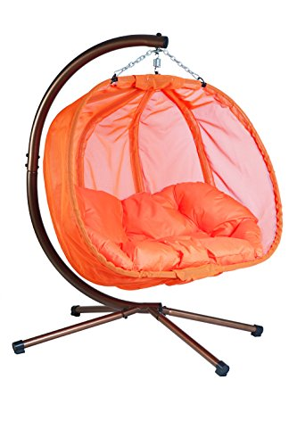 Flower House FHPC100-OR Hanging Pumpkin Loveseat Chair with Stand, Orange
