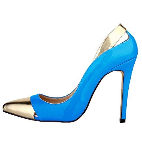 HooH Women's High Heel Pointed Toe Stiletto Wedding Pumps Slip On Blue-2