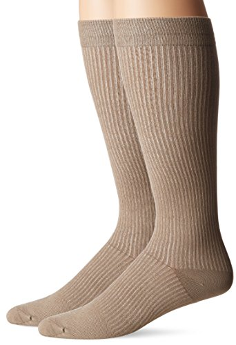 (Doctor's Choice Men's Graduated Compression Over-the-Calf 2-Pack, Tan, Sock Size: 10-13/Shoe Size:6-12.5)