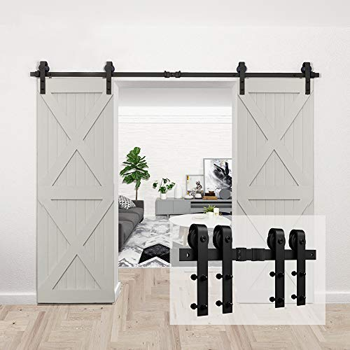 """Homlux 10ft Heavy Duty Sturdy Sliding Barn Door Hardware Kit Double Door - Smoothly and Quietly - Simple and Easy to Install - Fit 1 3/8-1 3/4"""" Thickness Door Panel(Black)(J Shape Hangers)"""