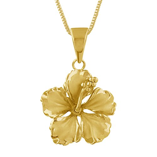 (14kt Yellow Gold Plated Sterling Silver 17mm Hibiscus Pendant Necklace, 16+2