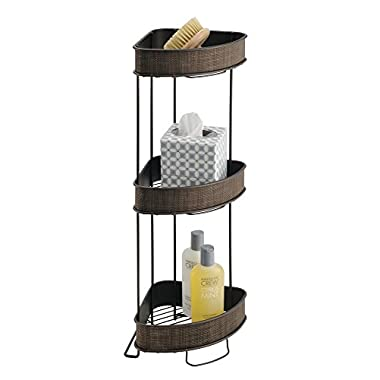 mDesign Free Standing Bathroom Storage Corner Shelves for Towels, Soap, Candles, Tissues, Lotion, Accessories - 3 Tiers, Bronze