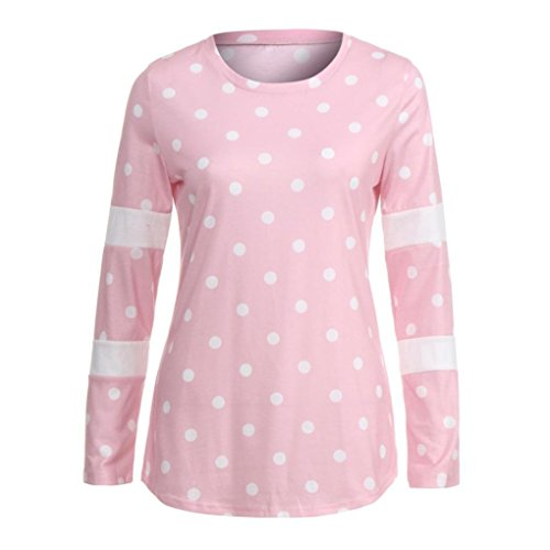 Bazhahei Casuale Tops collo Striscia T ladies shirt Camicetta Sciolto Donna Rosa Top O Camicie rvx6wrq8