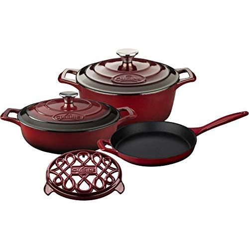 La Cuisine LC 2805 6-Piece Enameled Cast Iron Cookware Set in Ruby (Round Casserole/Trivet), ()