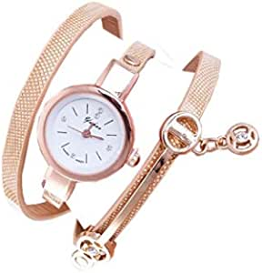 Wrist Watches for women, Gold leather strap