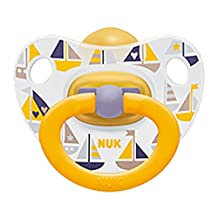 NUK Baby Pacifier 0-6 M Latex Unisex Yellow Boats Soother Newborn 4255-11