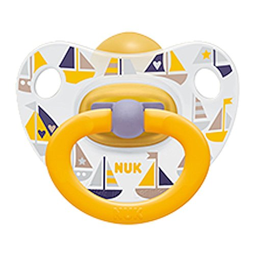 Nuk Classic Latex - NUK Baby Pacifier 18-36 M Latex Unisex Yellow Boats Soother Toddler 4187-12