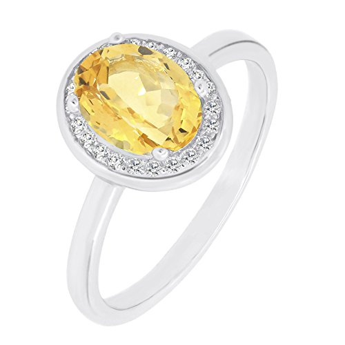 BL Jewelry Vintage Style Sterling Silver Oval Cut Natural Amethyst, Citrine, Garnet, Peridot and Topaz Gemstone Halo Ring (9, ()