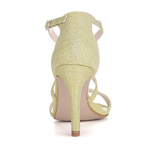 Allegra K Womens Glitter Stiletto Strappy Sandals Gold 5esDLFLgNA
