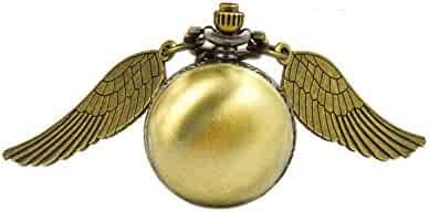 Boshiya Legendary Flying Brass Ball Steampunk Snitch Time Piece Watch With Long Necklace.