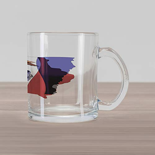 Lunarable Iowa Glass Mug, The Hawkeye State Map and Flag Bald Eagle Carrying Streamer Beak, Printed Clear Glass Coffee Mug Cup for Beverages Water Tea Drinks, Cobalt Blue Vermilion and White ()