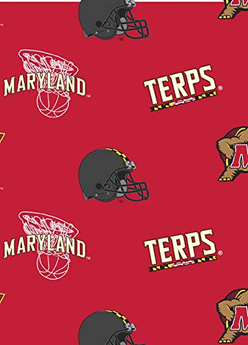(College University of Maryland Terrapins Terps Print Fleece Fabric By the Yard)