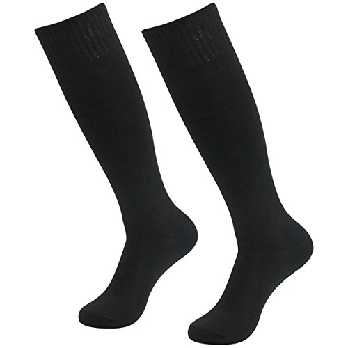 - Three street Unisex Cushioned Knit Cotton Sport Volleyball Soccer Compression Sock Black 2-Pairs