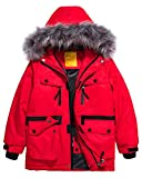 Wantdo Boys Fleece Lined Skiing Jacket Waterproof Raincoat Winter Coat Red 6/7