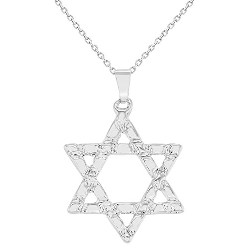 In Season Jewelry Rhodium Plated Star Of David Pendant Necklace Jewish Religious 19