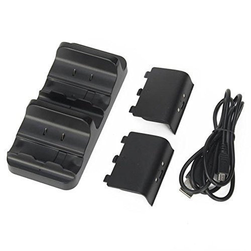 Xbox One Cargador doble estación de carga Dock base con 2baterías recargables y cable USB para Xbox One Wireless...