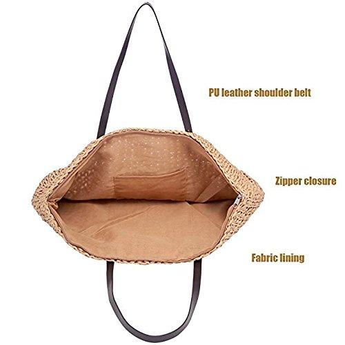 Marrón Bolso marrón al Paja de LONGBLE para hombro mujer H8qwHx