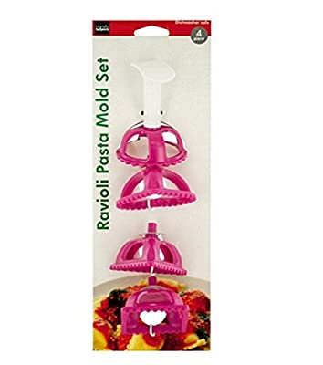 4 Piece Pink Ravioli Maker/ Stamp & Mold Set