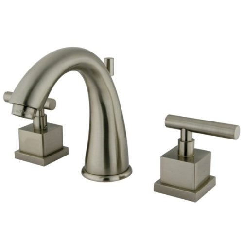 Satin Nickel Adjustable Spread - Kingston Brass KS2968CQL Claremont 8-Inch Widespread Lavatory Faucet with Brass Pop-Up, Satin Nickel