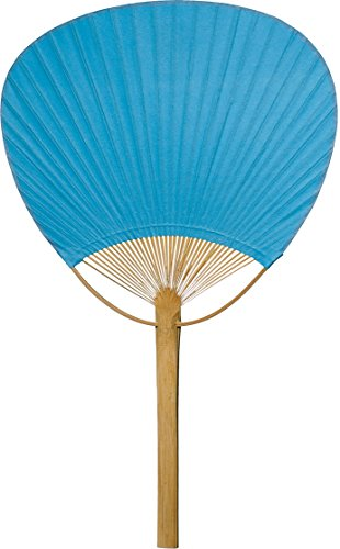 Luna Bazaar Hand-Held Paper Paddle Fan (14.5-Inch, Turquoise Blue) - For Personal Use, Weddings, and Events