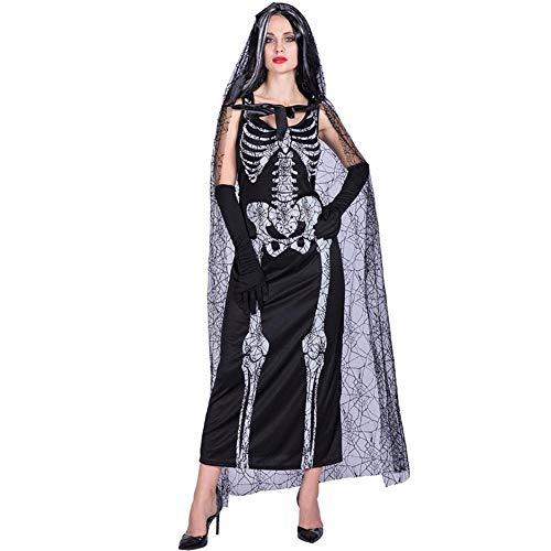 Rundaotong-US Halloween Costume Skull Ghost Bride Cospaly