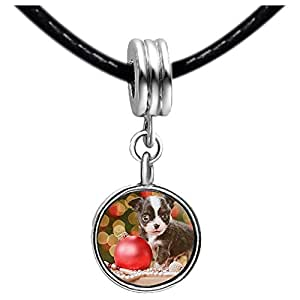 Chicforest Silver Plated Playing Christmas ball cat Photo Red Zircon Crystal July Birthstone Flower dangle Charm Beads Fits Pandora Charms