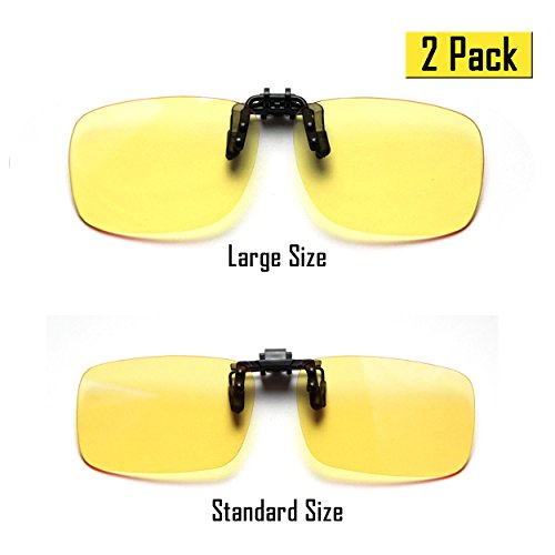 Cyxus (2 Pack) Blue Light Filter Clip-on Computer Reading Glasses, UV Blocking Anti Eye Strain Unisex Eyewear 1 Standard Size and 1 Large Size Yellow Lens SET