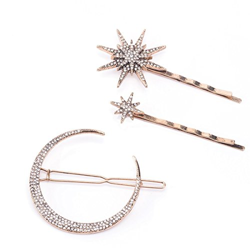 (Set of 3 Bronze Stars and Moon Hair Clips)