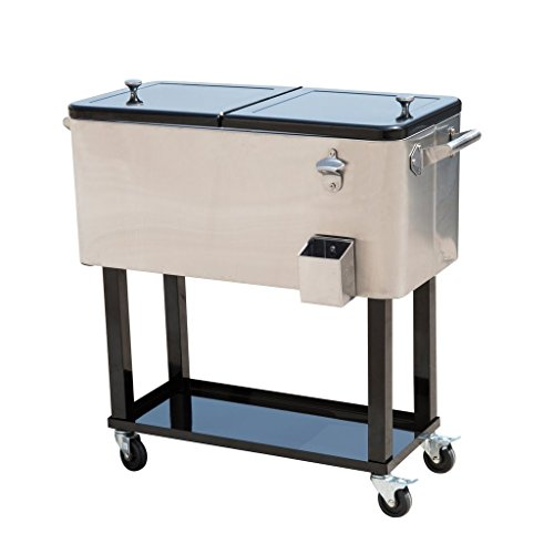 Tenive 80-quart Stainless Patio Cooler Portable Ice Cooler Cart Rolling Party Drink Entertaining Outdoor Cooler Cart - Silver (Cooler On Stainless Steel Wheels)
